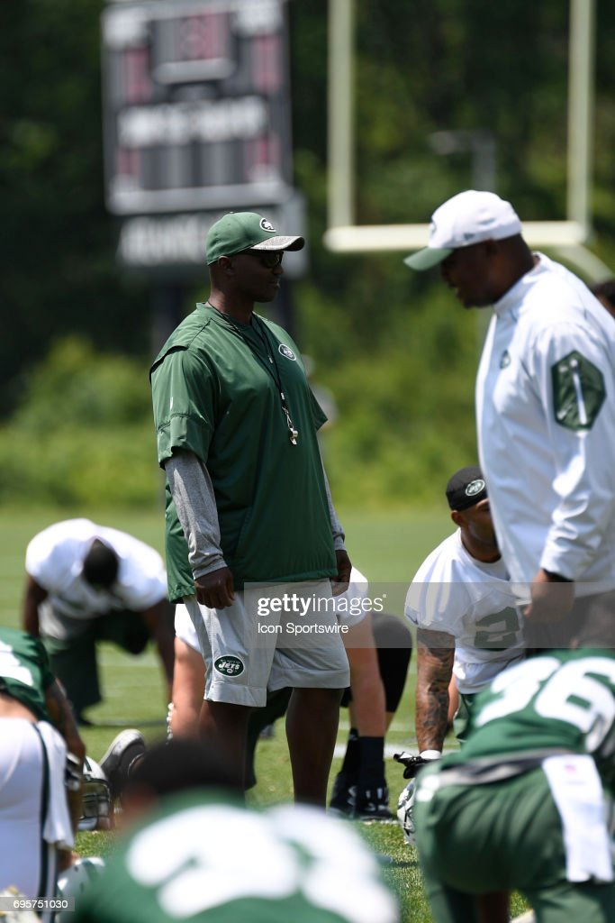 New York Jets head coach Todd Bowles looks over the warm up session of the NY Jets minicamp on June 13, 2017, at Atlantic Health Training Center in Florham Park, NJ.