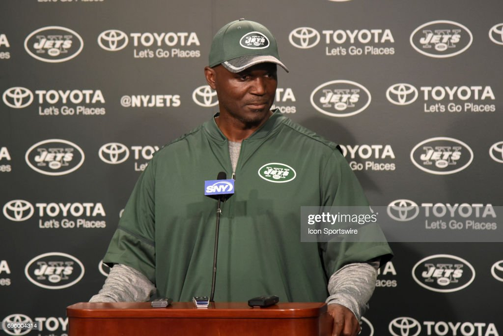 New York Jets head coach Todd Bowles talks with reporters after the NY Jets minicamp on June 13, 2017 held at Atlantic Health Training Center in Florham Park, NJ