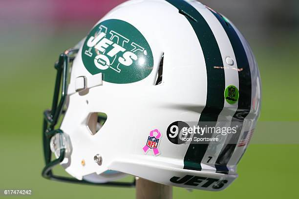 New York Jets helmet sits on the bench with the number 90 sticker for former New York Jets player Dennis Byrd who was killed in a car accident prior...