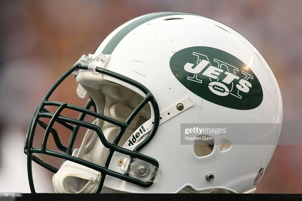 New York Jets helmet sits on the sidelines during the AFC Divisional Playoff Game against the San Diego Chargers at Qualcomm Stadium on January 17...