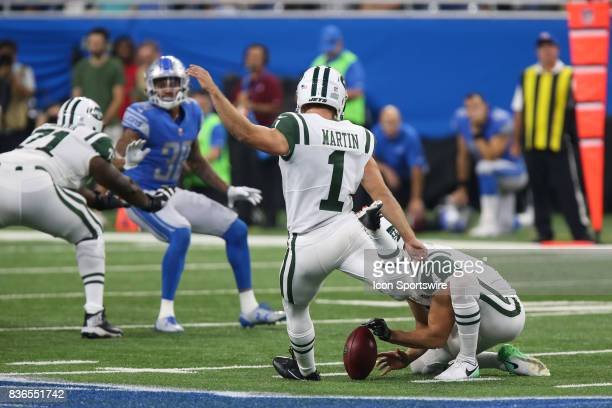New York Jets kicker Ross Martin kicks a field goal during a preseason game between the New York Jets and the Detroit Lions on August 19 2017 at Ford...