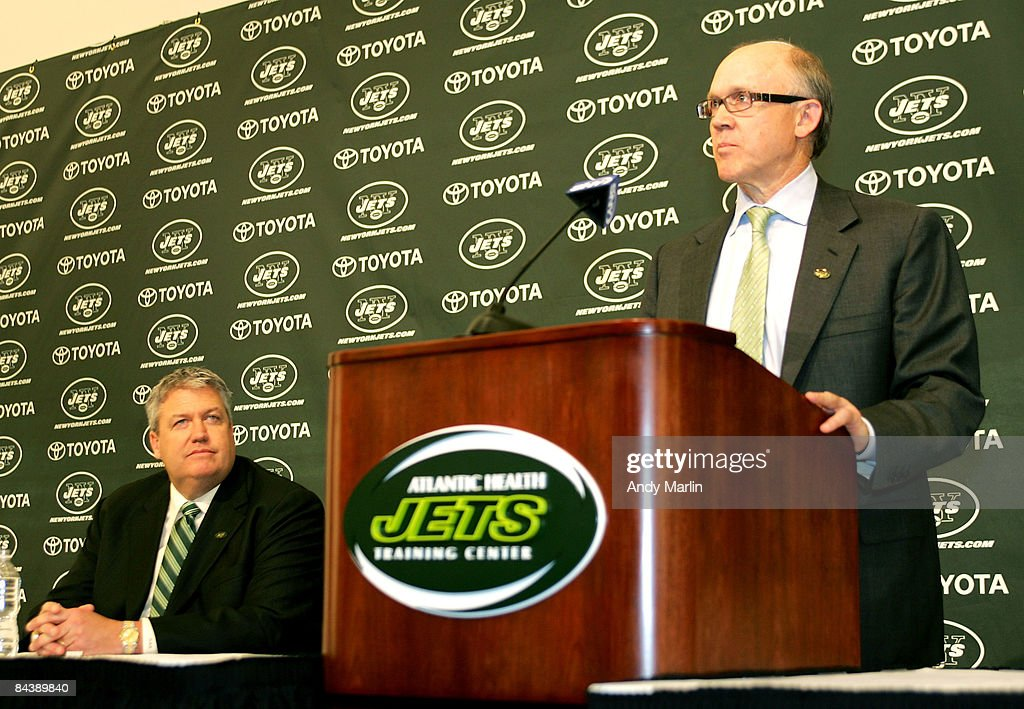 New York Jets owner Woody Johnson addresses the media during a press conference announcing Rex Ryan (L) as the new Head Coach of the New York Jets at the Atlantic Health Jets Training Center on January 21, 2009 in Florham Park, New Jersey.