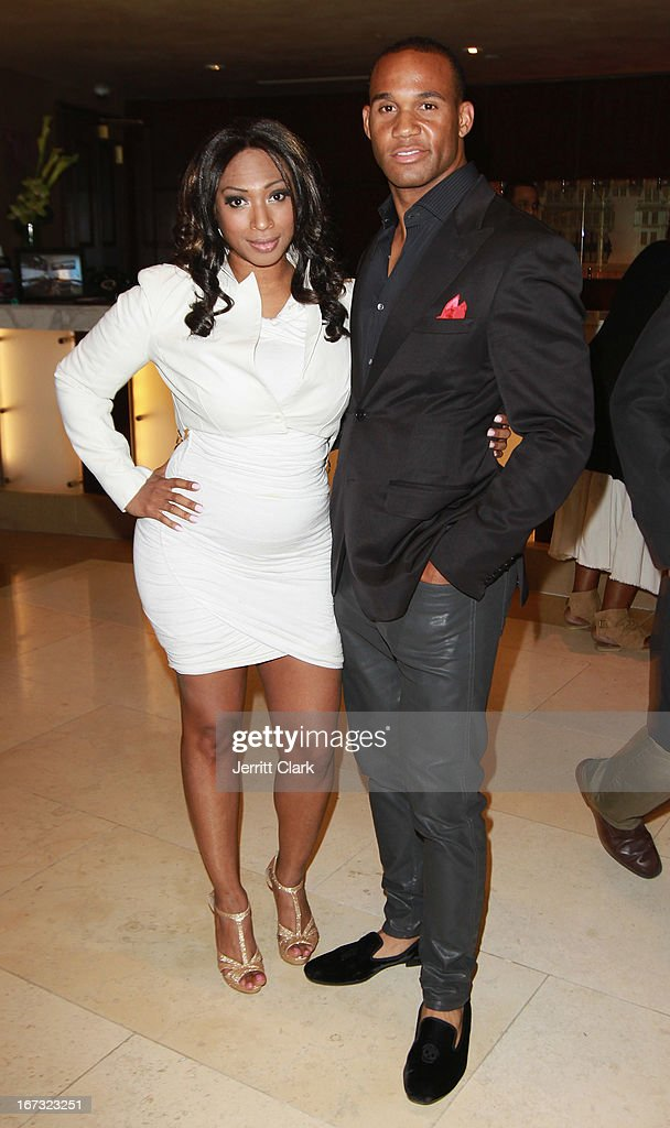 New York Jets player Bret Lockett and Tanay Jackson attend the Made In The USA 2013 Fashion Presentation at the Carlton Hotel on April 23, 2013 in New York City.