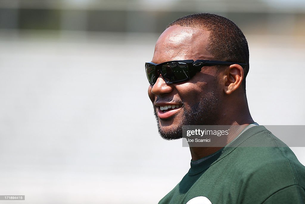 New York Jets player Bret Lockett hosts a charity football camp at Diamond Bar High School on June 29, 2013 in Diamond Bar, California.