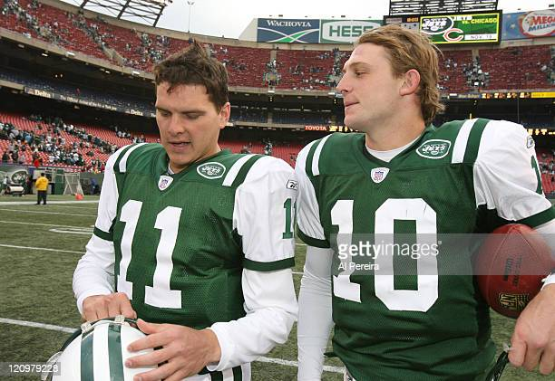 New York Jets QB Chad Pennington and QB Patrick Ramsey in action during the Jets' 3124 win oer the Detroit Lions at the Meadowlands East Rutherford...