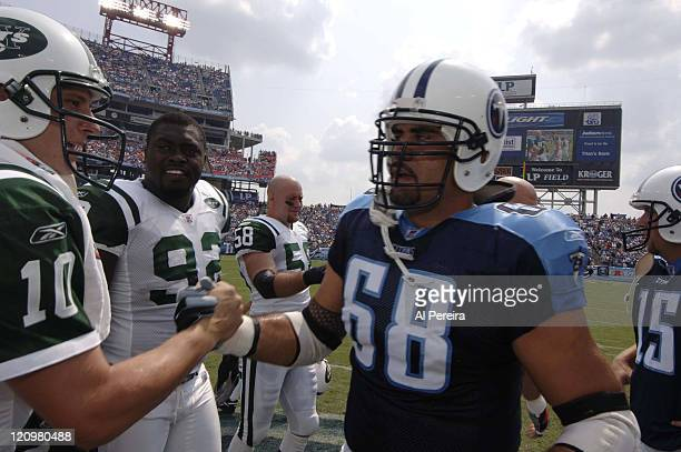 New York Jets QB Chad Pennington and Tennessee Titans C Kevin Mawae during the game at LP Field in Nashville Tennessee on September 10 2006 The Jets...
