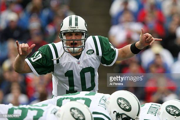 New York Jets QB Chad Pennington in action during the Jets' 2820 win over the Bills at Ralph WIlson Stadium Orchard Park New York September 24 2006