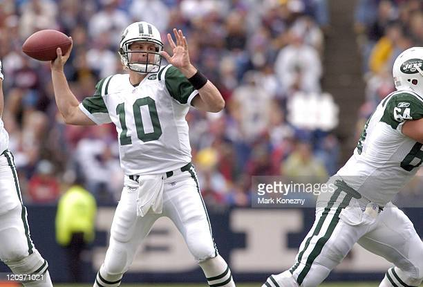 New York Jets quarterback Chad Pennington attempts a pass during a game against the Buffalo Bills at Ralph Wilson Stadium in Orchard Park New York on...