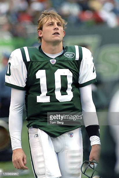 New York Jets Quarterback Chad Pennington on the sidelines during the Detroit Lions vs New York Jets game on October 22 2006 The Meadowlands East...