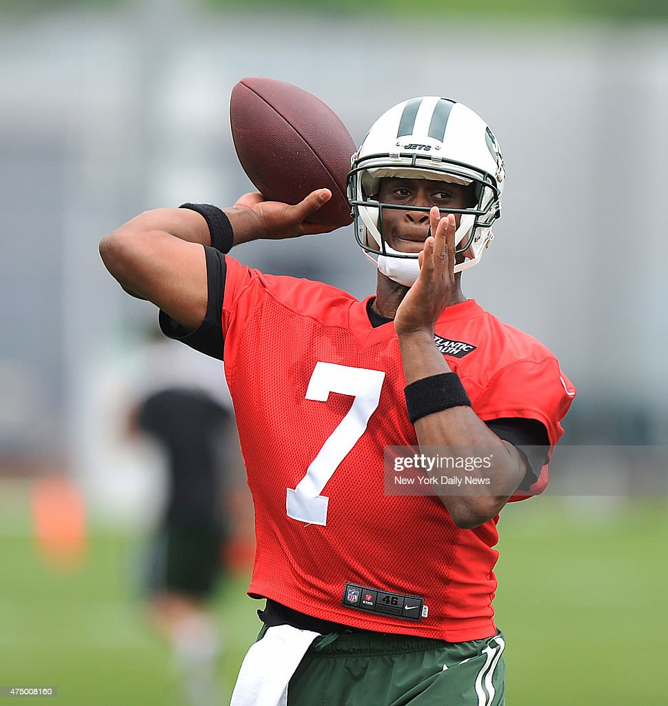 New York Jets quarterback <a gi-track='captionPersonalityLinkClicked' href=/galleries/search?phrase=Geno+Smith&family=editorial&specificpeople=6379793 ng-click='$event.stopPropagation()'>Geno Smith</a> #7 when the New York Jets practiced Wednesday, May 27, 2015 at their training facility in Florham Park, New Jersey.