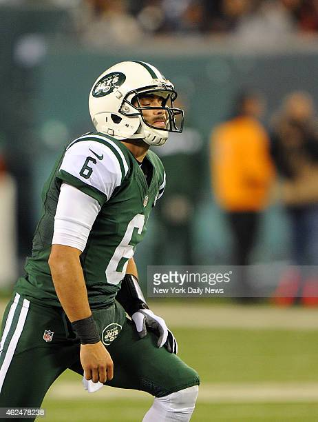New York Jets quarterback Mark Sanchez react to fumble and touchdown in the first half when the New York Jets played the New England Patriots...