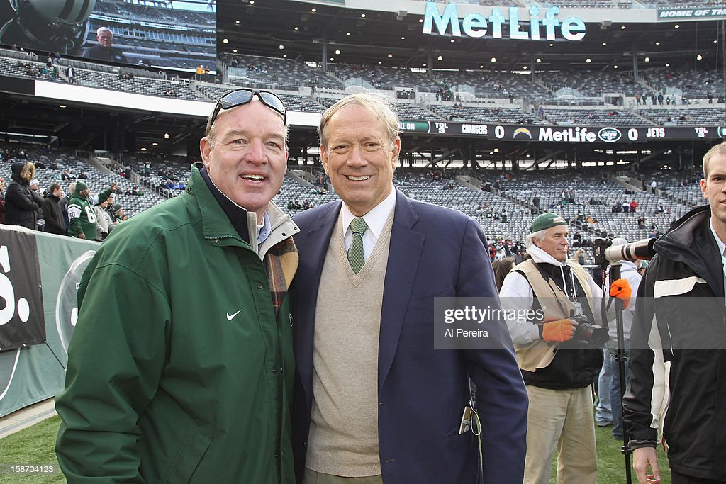New York Jets Radio Personality and former player Marty Lyons (L) and former New York Govenor <a gi-track='captionPersonalityLinkClicked' href=/galleries/search?phrase=George+Pataki&family=editorial&specificpeople=202813 ng-click='$event.stopPropagation()'>George Pataki</a> attend San Diego Chargers vs New York Jets game at MetLife Stadium on December 23, 2012 in East Rutherford, New Jersey.