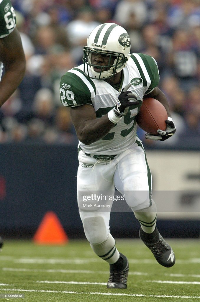 New York Jets running back Leon Washington runs through the line versus Buffalo at Ralph Wilson Stadium in Orchard Park New York September 24 2006...