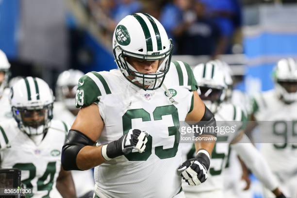 New York Jets tackle Jeff Adams runs onto the field prior to the start of a preseason game between the New York Jets and the Detroit Lions on August...