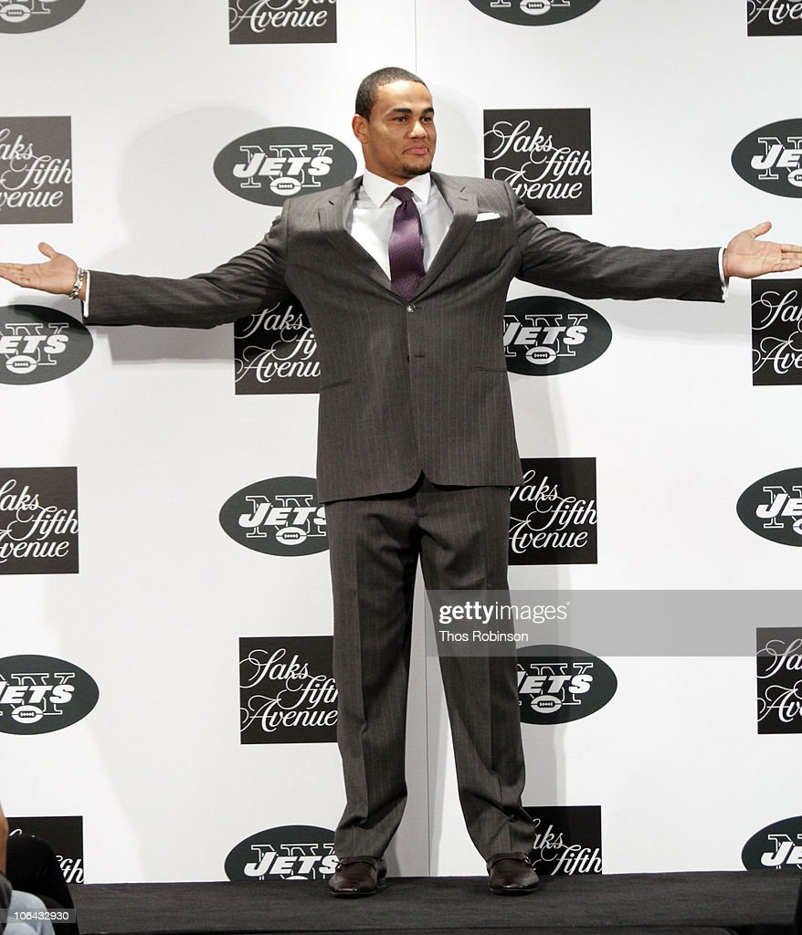 New York Jets Tight End <a gi-track='captionPersonalityLinkClicked' href=/galleries/search?phrase=Dustin+Keller&family=editorial&specificpeople=2160327 ng-click='$event.stopPropagation()'>Dustin Keller</a> attends Saks Fifth Avenue Celebrates The NY Jets on November 1, 2010 in New York City.
