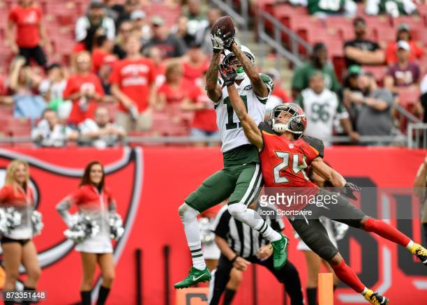 New York Jets wide receiver Robby Anderson catches a touchdown pass over the extended arms of Tampa Bay Buccaneers cornerback Brent Grimes during the...