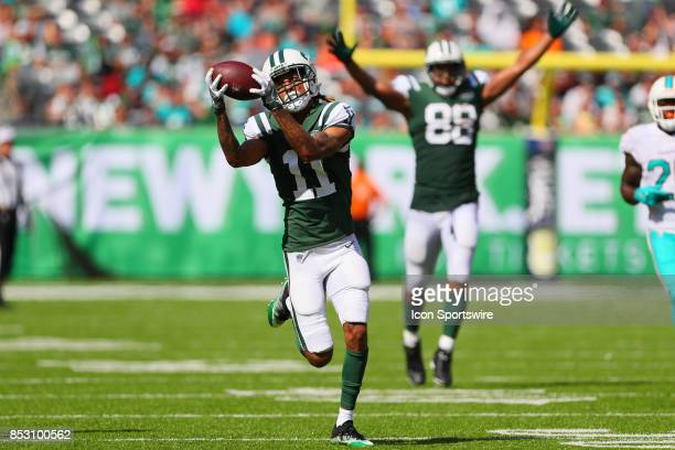 New York Jets wide receiver Robby Anderson makes a touchdown catch and run during the second quarter of the National Football League game between the...