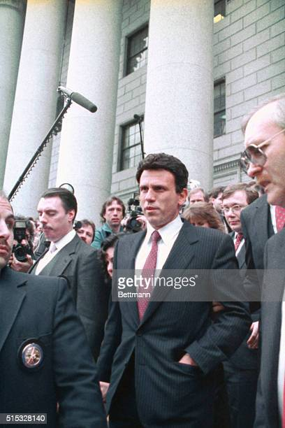 Junk bond king Michael Milken leaves US District Court here after pleading innocent to charges of insider trading in the government's most expensive...