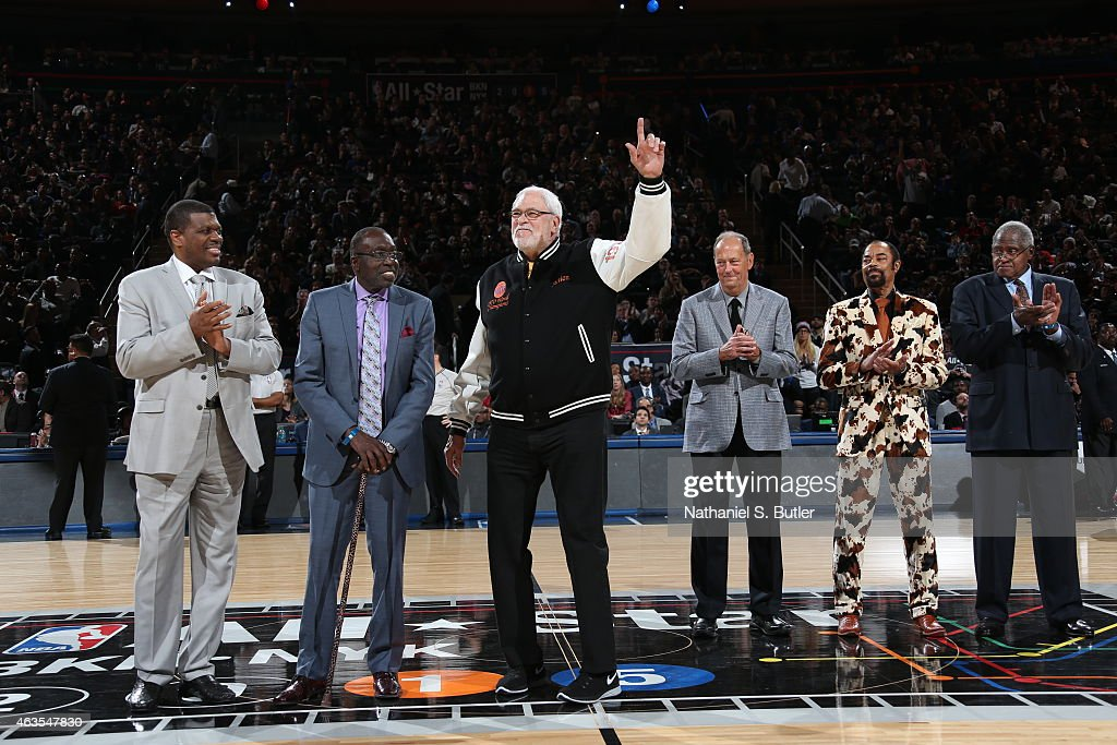 New York Knick Legends Bernard King Earl Monroe Phil Jackson Bill Bradley Walt Frazier and Willis Reed during the 64th NBA AllStar Game presented by...