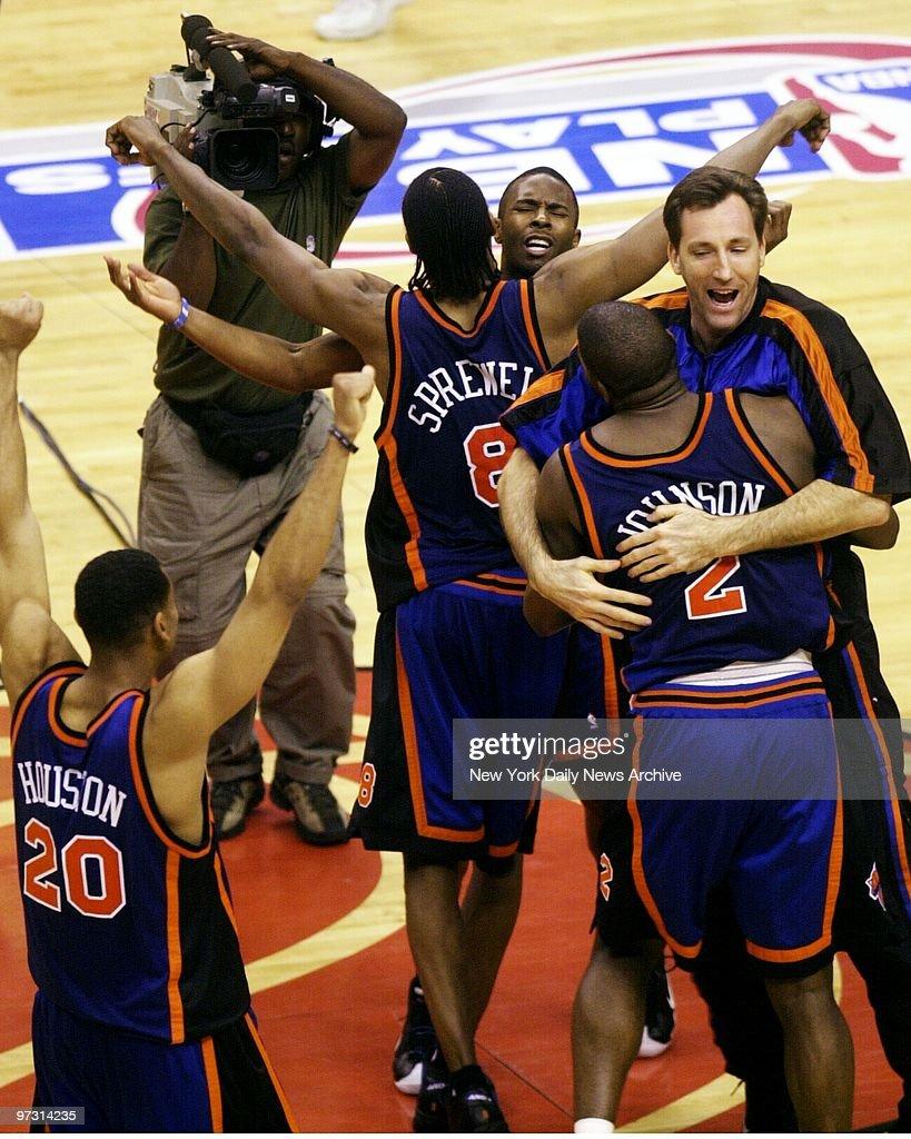 New York Knicks Allan Houston Latrell Sprewell and Larry J