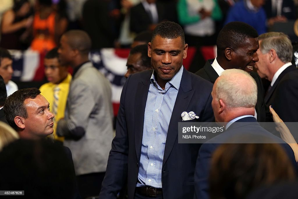 New York Knicks Assistant General Manager Allan Houston looks on during the My Brother's Keeper Initiative with President Barack Obama on July 21, 2014 at the Walker Jones Education Campus in Washington DC.
