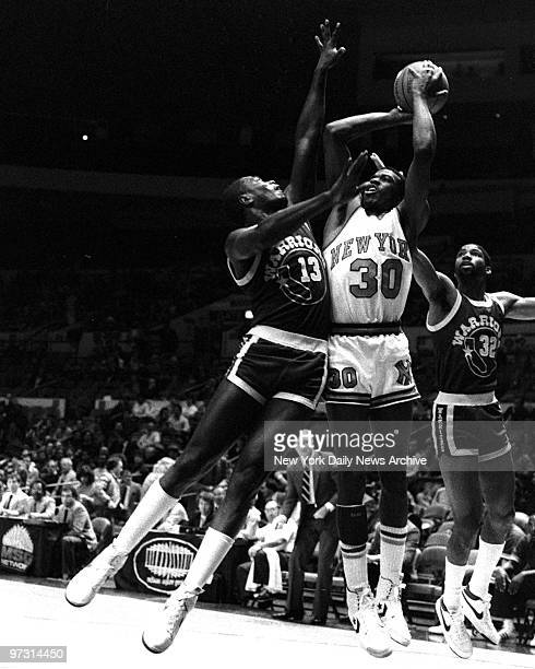New York Knicks' Bernard King in action against the Golden State Warriors at Madison Square Garden