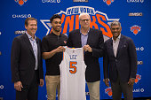 New York Knicks coach Jeff Hornacek Knicks newest player Courtney Lee Knicks President Phil Jackson and General Manager Steven Mills pose at the...