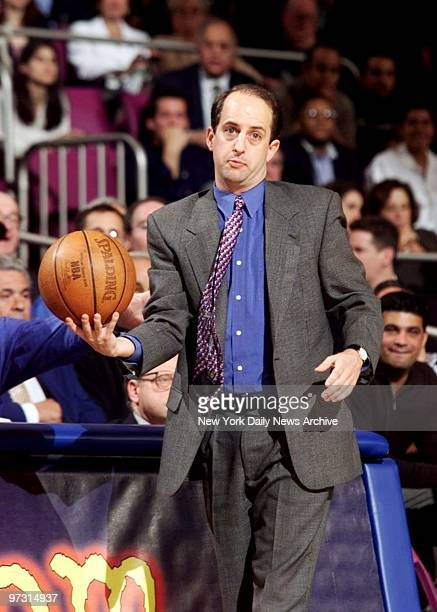 New York Knicks' coach Jeff Van Gundy has the ball but just for the moment in game against the Miami Heat at Madison Square Garden