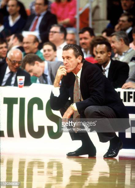 New York Knicks coach Pat Riley watches action versus the Boston Celtics during a game in Hartford CT December 1988