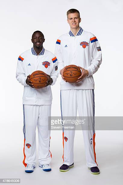 New York Knicks draft pick Kristaps Porzingis and pick Jerian Grant pose for portraits at the Madison Square Garden Training Facility on June 26 2015...