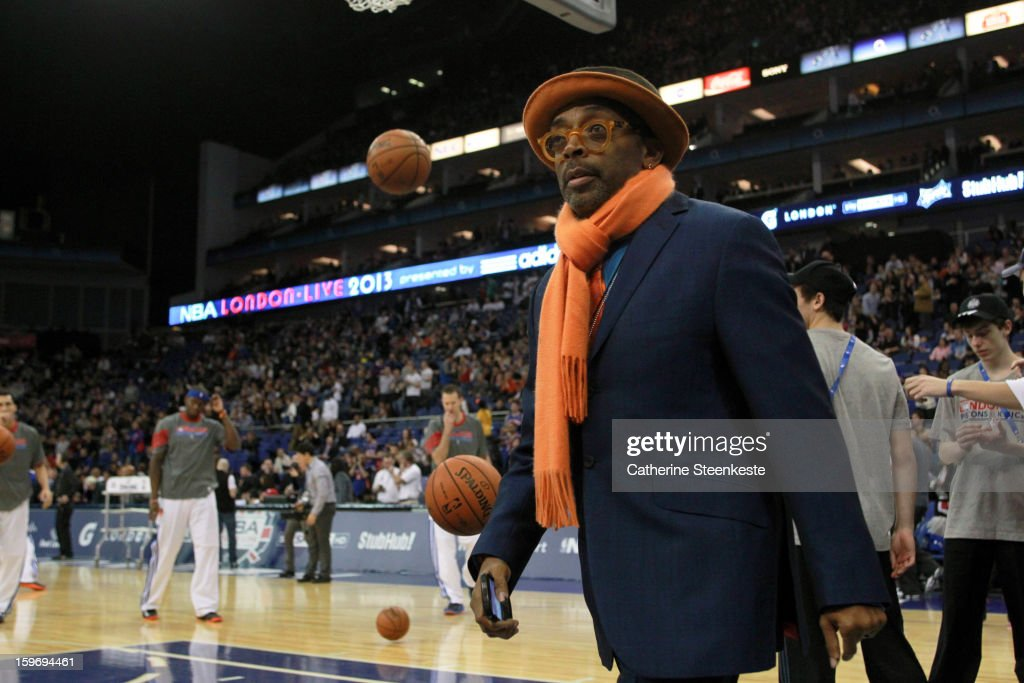 New York Knicks fan <a gi-track='captionPersonalityLinkClicked' href=/galleries/search?phrase=Spike+Lee&family=editorial&specificpeople=156419 ng-click='$event.stopPropagation()'>Spike Lee</a> is arriving for the game between New York Knicks and the Detroit Pistons during the NBA London Live 2013 at the O2 Arena on January 17, 2013 in London, England.