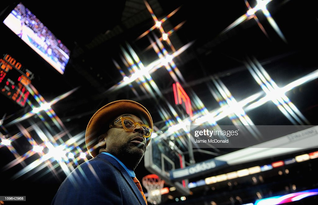 New York Knicks fan Spike lee looks on during the NBA LOndon Live 2013 game between New York Knicks and the Detroit Pistons at the O2 Arena on January 17, 2013 in London, England.