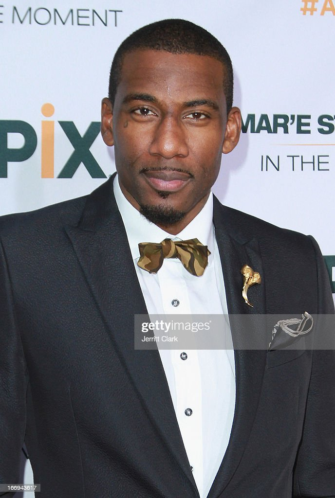 New York Knicks Forward <a gi-track='captionPersonalityLinkClicked' href=/galleries/search?phrase=Amar%27e+Stoudemire&family=editorial&specificpeople=201492 ng-click='$event.stopPropagation()'>Amar'e Stoudemire</a> attends his '<a gi-track='captionPersonalityLinkClicked' href=/galleries/search?phrase=Amar%27e+Stoudemire&family=editorial&specificpeople=201492 ng-click='$event.stopPropagation()'>Amar'e Stoudemire</a>: In The Moment' New York Premiere at Marquee on April 18, 2013 in New York City.