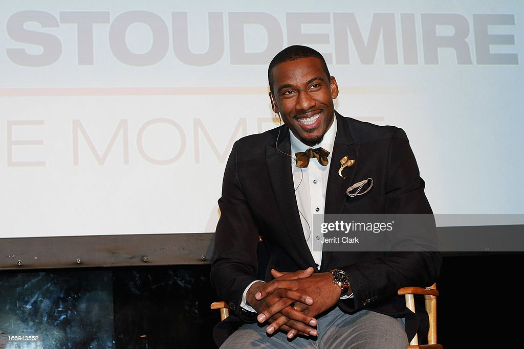 New York Knicks Forward <a gi-track='captionPersonalityLinkClicked' href=/galleries/search?phrase=Amar%27e+Stoudemire&family=editorial&specificpeople=201492 ng-click='$event.stopPropagation()'>Amar'e Stoudemire</a> attends his the '<a gi-track='captionPersonalityLinkClicked' href=/galleries/search?phrase=Amar%27e+Stoudemire&family=editorial&specificpeople=201492 ng-click='$event.stopPropagation()'>Amar'e Stoudemire</a>: In The Moment' New York Premiere at Marquee on April 18, 2013 in New York City.