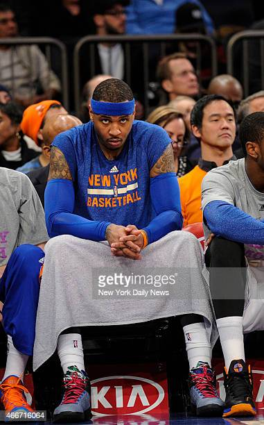 New York Knicks forward Carmelo Anthony on bench 4th quarter New York Knicks vs Boston Celtics at Madison Square Garden