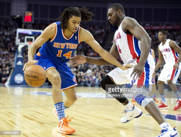 New York Knicks' forward Chris Copeland is challenged by Detroit Pistons' forward Jason Maxiell during their NBA basketball game at the O2 Arena in...