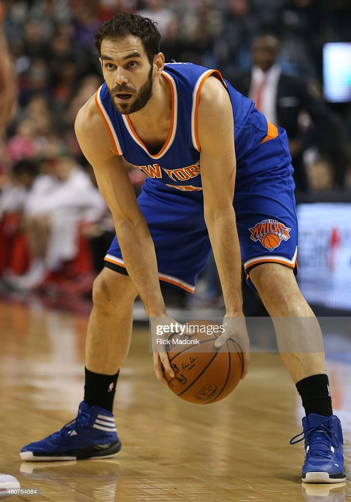 TORONTO - DECEMBER 21 - New York Knicks guard Jose Calderon (3)Toronto Raptors vs New York Knicks during 1st half action at the Air Canada Centre of the NBA season on December 21, 2014.