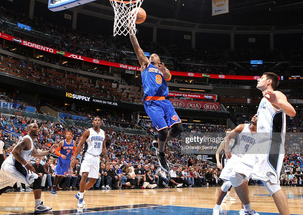 New York Knicks guard J.R. Smith (8) drives to the basket during the second half against the Orlando Magic at the Amway Center in Orlando, Florida, Saturday, January 5, 2013. The Knicks defeated the Magic, 114-106.