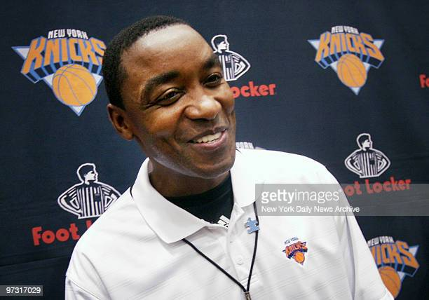 New York Knicks' head coach Isiah Thomas smiles as he speaks to media during a team practice in Greenburgh NY on the day his multiyear contract...