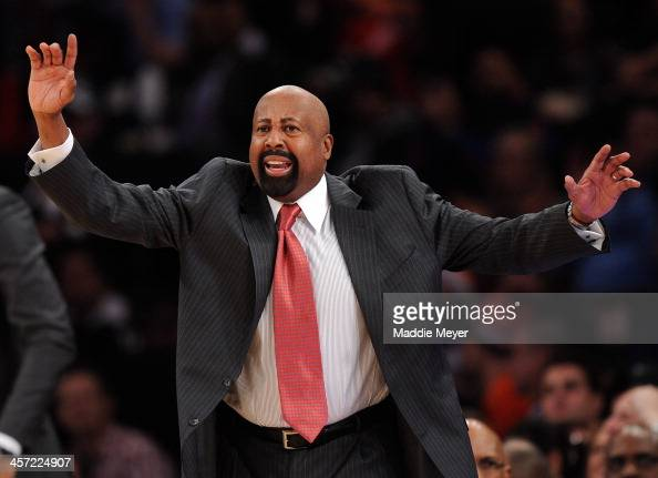 New York Knicks head coach Mike Woodson directs his team during the second half against the Washington Wizards at Madison Square Garden on December...