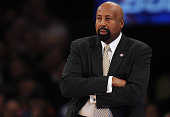New York Knicks head coach Mike Woodson looks on during the first half against the San Antonio Spurs at Madison Square Garden on November 10 2013 in...