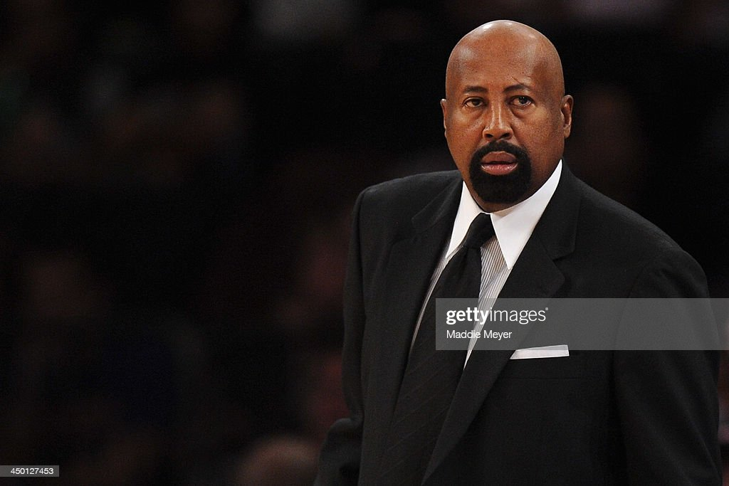 New York Knicks head coach Mike Woodson looks on during the first half against the Atlanta Hawks at Madison Square Garden on November 16, 2013 in New York City. The Hawks defeat the Knicks 110-90.