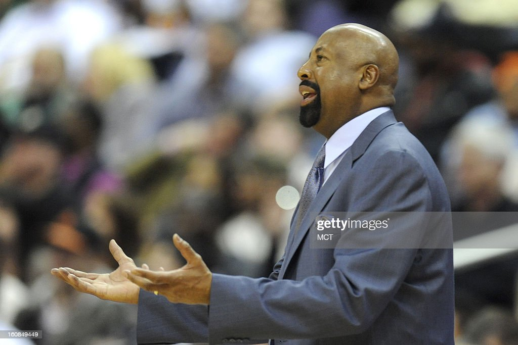 New York Knicks head coach Mike Woodson reacts to a call during second-half action against the Washington Wizards at the Verizon Center in Washington, D.C., Wednesday, February 6, 2013. The Wizards won, 106-96.
