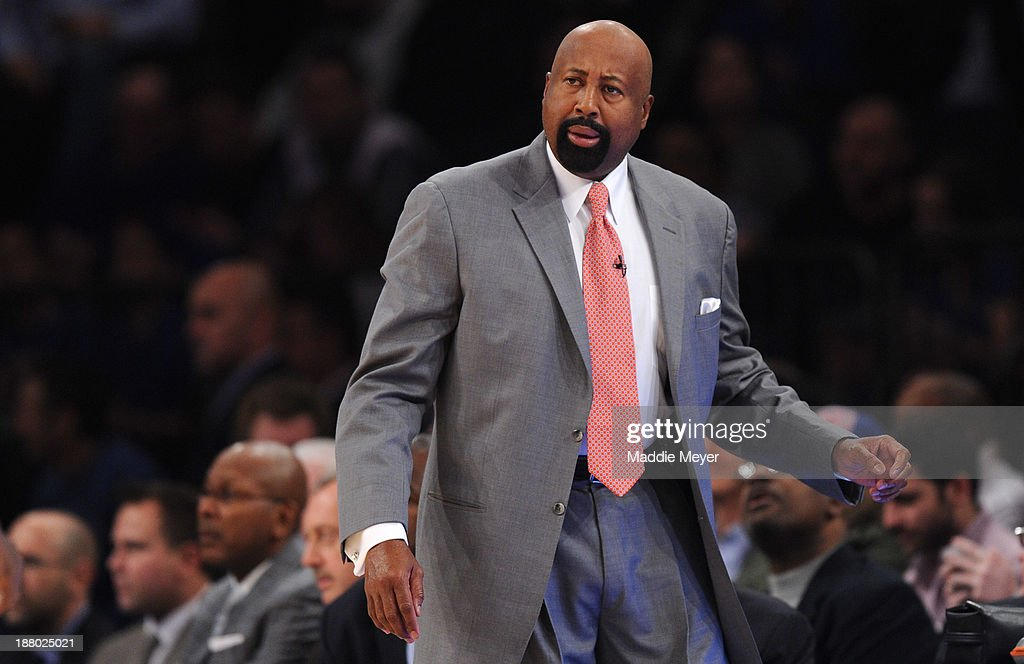 New York Knicks head coach <a gi-track='captionPersonalityLinkClicked' href=/galleries/search?phrase=Mike+Woodson&family=editorial&specificpeople=213194 ng-click='$event.stopPropagation()'>Mike Woodson</a> reacts to a call during the first quarter against the Houston Rockets at Madison Square Garden on November 14, 2013 in New York City.