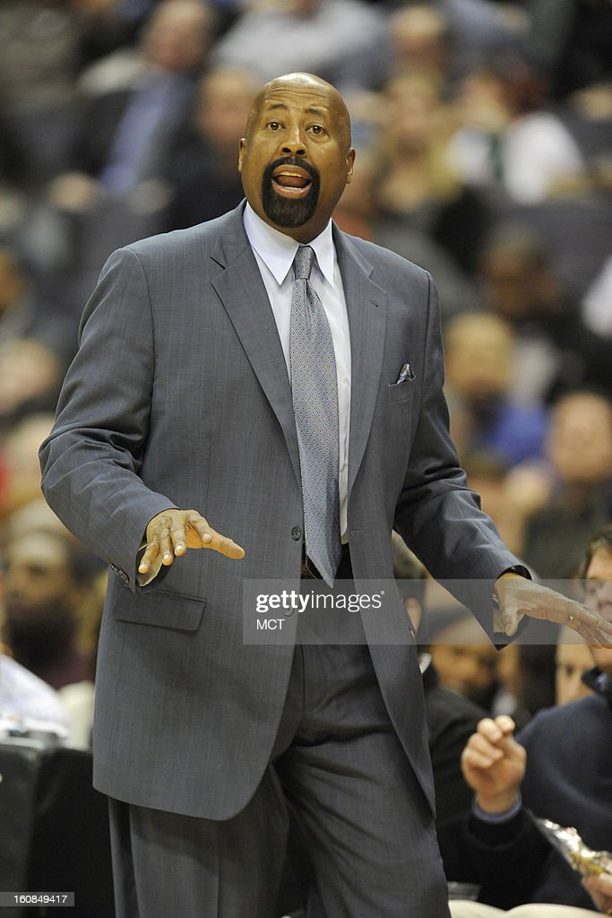 New York Knicks head coach Mike Woodson watches the action during second-half action against the Washington Wizards at the Verizon Center in Washington, D.C., Wednesday, February 6, 2013. The Wizards won, 106-96.