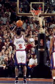 New York Knicks' Larry Johnson sinks a 3pointer to tie the game and a foul shot to win against the Indiana Pacers in the Eastern Conference finals at...