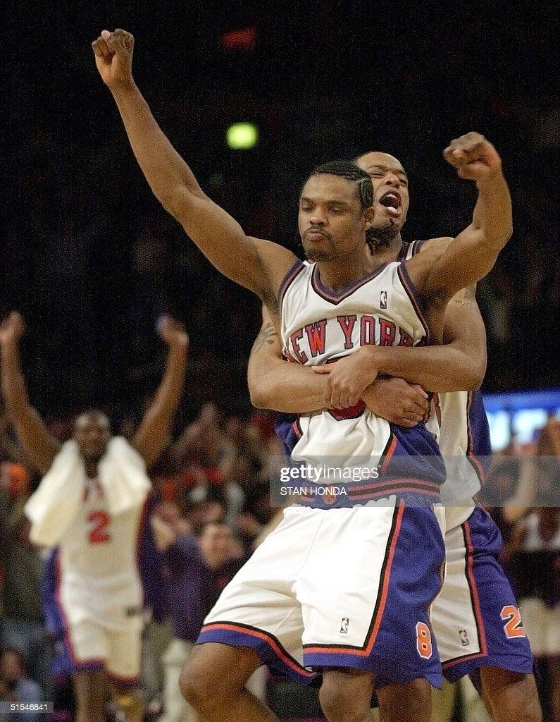 New York Knicks Latrell Sprewell L and Marcus Ca