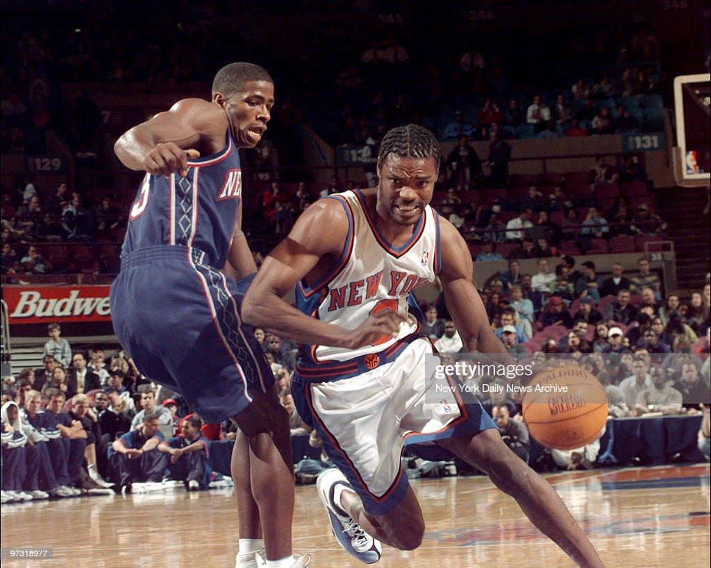 New York Knicks Latrell Sprewell right drives around New