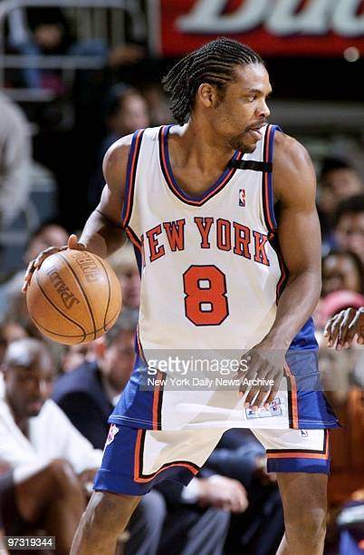 New York Knicks' Latrell Sprewell has the ball in game against the Miami Heat at Madison Square Garden Knicks won 10188