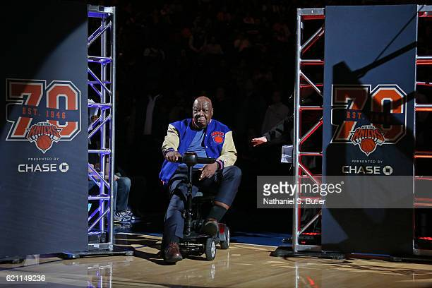 New York Knicks legend Cal Ramsey is honored before the game against the Memphis Grizzlies on October 29 2016 at Madison Square Garden in New York...